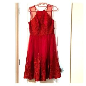 ModCloth Red, satin, lace, tool dress